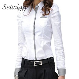 Wholesale SETWIGG Womens Long Sleeve Slim White Blouse Puffy Shoulder Collar Single breasted Grid Patchwork Pocket Blouses amp Shirts Woman