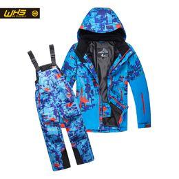 Wholesale Boys Waterproof Trousers - Wholesale- WHS Boys ski suit snow jackets & pants children skiing coat trousers Kids waterproof clothing windproof jacekt+pant 4-16 years