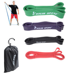 "Wholesale Band Set Up - 4pcs set Latex Exercise Band 41"" Strength Resistance Bands Loop Fitness Crossfit Power Lifting Pull Up Strengthen Muscles Yoga"