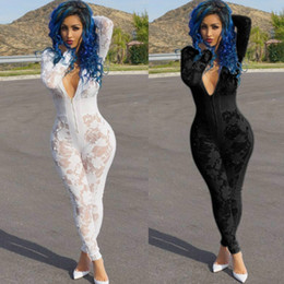 f266613ac54 New Design Deep V Neck Sexy Burn Hollow Out Mesh Stitching One Piece Jumpsuit  Club Sexy Women Rompers Women Lace perspective Jumpsuit Romper