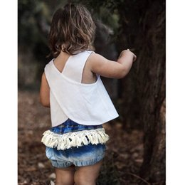 Wholesale New Style Jeans Pant Kids - INS Burst kids Girls' summer new jeans Shorts pants Fringed shorts INS kids girls 2017 new jeans 1-5T