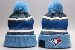 Wholesale Wool Ski Hats For Men - New Fashion Unisex blue jays Winter Hats for Men women NY Knitted Beanie Wool Hat Man Knit Bonnet Basketball Beanie Gorro Thicken Warm Cap