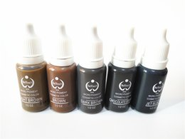 Wholesale Eyebrow Cosmetic Tattoo Ink - 5pcs mix colors biotouch tattoo ink set pigments permanent makeup 15ml black brown colors cosmetic color tattoo ink for eyebrow eyeliner lip