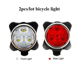 Wholesale Led Light Bulbs For Bikes - Wholesale- 2pcs lot Bike Light Front Rear Light USB Rechargeable Led Cycling Lamp Safety Warning Portable Led Flash Lights for Bicycle