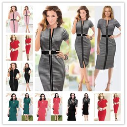 Wholesale caps business - 2017 New Womens Celebrity Elegant Vintage Ruched Pinup Wear To Work Office Business Casual Party Fitted Bodycon Pencil Dress Size S-2XL