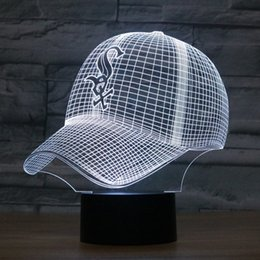 Wholesale Baseball Caps Led Lights - Free Shipping Fashion LED 3D Illusion Night Light Chicago White Sox Baseball Team Cap 7 Color American Baseball Hat Decor Bulb USB lamp