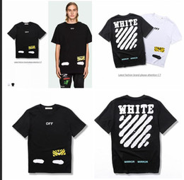 Wholesale Hiphop Men S Tshirt - Off white OW Mirror T-shirt for Men and Women 2017 Summer New Arrival Hiphop streetwear Tshirt Short top short Sleeve Cotton Black White 317