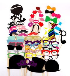 Wholesale Lips Mustache Decorations - Wholesale- 58pcs set Photo Booth Props Glasses Mustache Lip Mask Fun Colorful paper Card For Wedding Birthday Party Decoration gift Wh