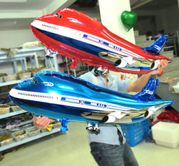 """Wholesale Airplane Balloons - 32"""" Aluminum Foil Airplane Aeroplane Balloon Plane Children Party Birthday Decoration Oversized Modeling 82*42cm blue red pink bag filler"""