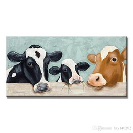 Wholesale Cow Paintings - YIJIAHE Fashion Canvas Painting milch cow Pictures hand-painted On Canvas Large 1 Piece Wall Pictures For Living Room Bedroom Office h99