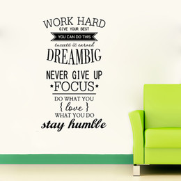 Wholesale Black Art Work - 4055 WORK HARD Motivation Wall Decals Never Give Up DREAM BIG Inspirational Quote Wall Stickers Free Shipping