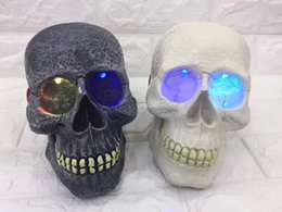 Wholesale Life Sounds - personality skull head Bluetooth speaker card sound Halloween Funny gift single head skull card plug speaker with led