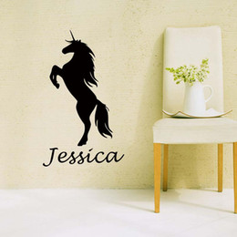 Wholesale Green Products Kids - New Product For Personalised Name Unicorn Wall Art Girls Kids Bedroom Custom Vinyl Decal Funny Sticker Diy Decor