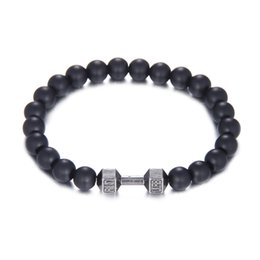 Wholesale Mens Gold Beaded Chain - Wholesale mens gift dumbbell bracelets made by 8mm high quality black natural stone bead bracelet for men fashion fitness sports jewelry