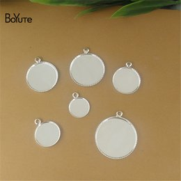 Wholesale Silver Ring Blank Cameo - BoYuTe 100Pcs Round 12MM 14MM 16MM 18MM 20MM Cameo Cabochon Base Setting Diy Silver Pendant Blank