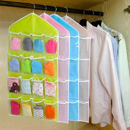Wholesale Drop Hangers - Wholesale- 16Pockets Clear Hanging Bag Socks Bra Underwear Rack Hanger Storage Organizer closet clothes organizing bags drop shipping
