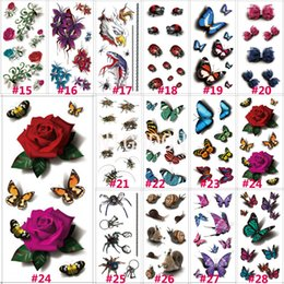 Wholesale Temporary Tattoo Chest - Wholesale-1 PC 190x90mm 3D Chest Sleeve Tattoo Stickers Glitter Temporary Tattoos Fake Rose Butterfly Bows For Body Leg Waterproof N3DLOT1