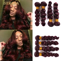 Wholesale Cheap Good Hair Extensions - Burgundy Peruvian Human Hair Weaves Loose Wave 4pcs Full Head 99j Hair Extensions Good Quality Cheap Wine Red Loose Curly Bundles