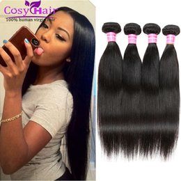 Wholesale Cheap Good Remy Hair - Good Cheap! Brazilian Human Hair Brazilian Straight Virgin Silk Human Hair Weaves Brazilian Remy Straight Soft Hair 8A Grade Natural Black