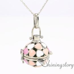 Wholesale Black Diamond Oil - metal volcanic stone ball heart charm lockets necklace for essential oils diamond locket pendant oil diffuser pendant openwork necklaces