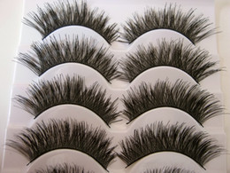 Wholesale Thick Cock - Free shipping 2017 hot sale 5 Pairs lot natural long thick cocking up girl High quality false eyelashes charming fake eyelashes