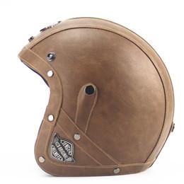 Wholesale Black Vespa Helmet - Wholesale- Adult Open Face Half Leather Helmet Harley Moto Motorcycle Helmet vintage Motorbike Vespa motocross capacete Chopper Bike Black