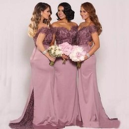 Wholesale Silk Dresses Colors - Hot Sale Mermaid Bridesmaid Dresses Sexy Off the Shoulder Lace Top Fit Bridesmaids Dresses Sheer Train Custom Made Colors
