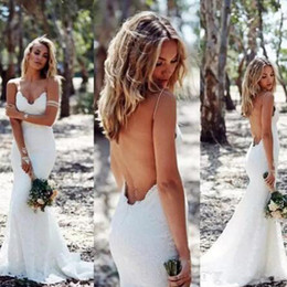 Wholesale Low Back Cheap Wedding Dresses - 2017 Backless Wedding Dresses Mermaid Spaghetti Strap Sexy Full Lace Wedding Dress Cheap Sweep Low Back Boho White Ivory Bridal Dress 2016