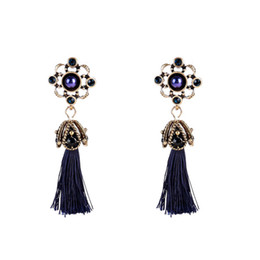 Wholesale Weave Earrings - 2017 Fashion Bohemia Weave Multilayer Cord Long Tassels Drop Earrings For Women Measly Alloy round Vintage Earrings Wholesale Free shipping