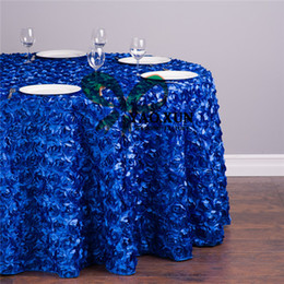 Wholesale Wholesale Rosette Tops - Top Sale Round Satin Rosette Table Cloth \ Wedding Tablecloth Free Shipping