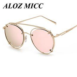 Wholesale Frame Out Mirror - ALOZ MICC Retro Women Round Sunglasses Brand Designer Fashion Hollow Out Metal Frame Mirror Coating Sun Glasses UV400 A272