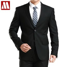 Wholesale Men S Grooming Set - Wholesale- New Arrive mens fashion high quality suit set groom business suit men wedding Dress Suits set Tops + pants Asia XS-3XL MTS135