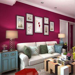Wholesale House Environmental - 0.53x10m Mediterranean red color wallpaper romantic wedding room bedroom living room plain environmental non-woven wallpaper