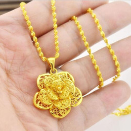 Wholesale 24k Gold Pendants Charms - New 2017 Women's Jewelry 24K Gold Yellow Filled Plated Necklace Flower Pendant Chain Gift