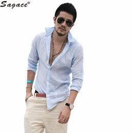Wholesale Casual Button Men Shirts Wholesale - Wholesale- Modern Men's Casual Long-sleeved Lapel Shirt Fashion Casual Linen Turn-down Button Male Shirts Business Man Camisa Aug3