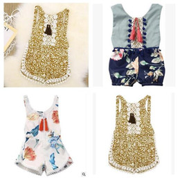 Wholesale One Piece Vest Baby - Baby Onesies 2017 Summer Floral Printed Lace Romper Jumpsuit Baby Clothes One Piece Clothing Toddler Infant Tassel Vest Romper Kids Clothing