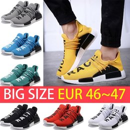 Wholesale Fall Big - Big Size NMD Human Race Trail boost Man Running shoes Ultra boost ultraboost nmds yellow black white Mens womens Sport sneakers US 5-12