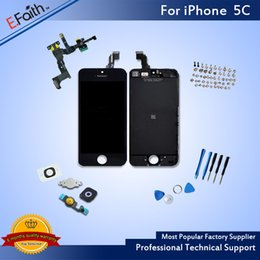Wholesale 5c Accessories - For iPhone 5C Grade A+++ With Home Button and Front Camera Black LCD Screen Display Digitizer Assembly With Accessories & Free Shipping