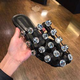 Wholesale Customized Sandals - LTTL New Customized Women Diamonds Slippers Gladiator Flats Cages Crytsal Slip On Flats Sandals Summer Shoes Women Eu size 32-44