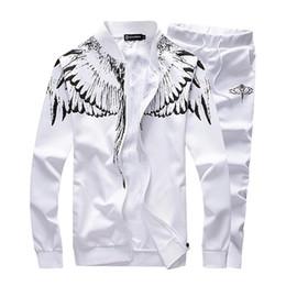 Wholesale Baseball Standards - Wholesale-2016 Fashion Spring Mens Track Suit Casual Mens Sportswear Angel Wings Printed Tracksuit Set Cardigan Baseball Sweatshirts 5xl