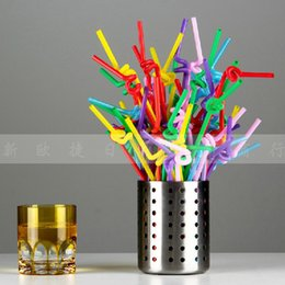 Wholesale White Plastic Straws - Plastic Curly Loop Straws Creative Arts Drinking Straw Diy Disposable Tubularis Colorful White Black For Birthday Party Decor 2 2jm A R