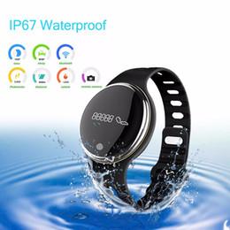 Reloj pulsera saludable online-Comercio al por mayor E07 Impermeable IP65 Bluetooth Smart Watch Pulsera Deporte saludable Podómetro Sleep Monitor relojes inteligentes para teléfonos android