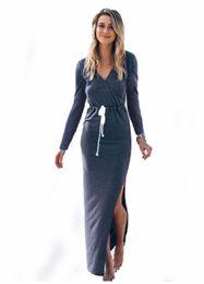 Wholesale Stretch Beach Skirts - Long dress for women Sexy ladies Stretch Side slit long dress summer V neck beach skirt