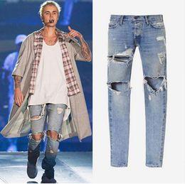 Wholesale 29 Jeans For Men - Hot kanye west clothes streetwear light blue hip hop jeans rockstar justin bieber ankle zipper destroyed ripped jeans skinny for men