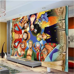 Wholesale Mediterranean Shipping - One Piece Wall Mural Japanese anime Custom Large Photo wallpaper Cartoon Room Decor wall Art Bedroom Children's room Free ship