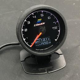Wholesale Digital Multi Gauge - 62mm 2.5 Inch 7 Color in 1 Racing GReddy Multi D A LCD Digital Display RPM Gauge Tachometer Sensor