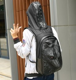 Wholesale Branded Hard Hats - Original design brand high-end stereo male package 3D Langtou backpack backpack Europe wind hat leather cool personality Backpack