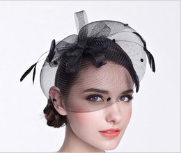 Wholesale Fascinator Dress - Elegant Ivory Black Hats Bridal Yarn Headband With Hairpin  Hairband British Vintage Little Hoodie Lady Dinner Dress 2017-2018 Newest