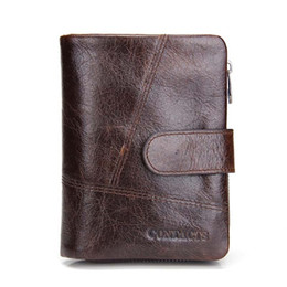 Wholesale Bag Mens Cowhide - 2017 New European and American Brand Luxury Mens Wallets Genuine Leather Men Purse Short with Coins Bag Men Wallet M1040