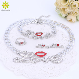 Wholesale Errings Silver - Women Accessories Jewelry Sets Cute Red Lips LOVE Big Letter Pendant Silver Color Necklace Bracelet Errings Ring Set
